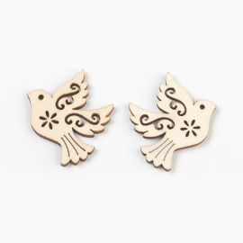 """Wooden decorations """"Bird"""" for necklace bracelets jewelry Wood color Bird"""