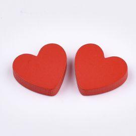 """Medinė dekoracija """"Širdelė"""" vėriniamsapyrankėmspapuošalams Raudonos spalvosŠirdelės"""