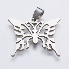 """Stainless steel 202 pendant """"Butterfly"""" for necklace bracelets jewelry Gray size 26x31x1 5 mm d"""