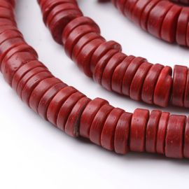 Natural coconut beads for necklace bracelets jewelry inner hole diameter ~ 3 mm .. Red burgundy size