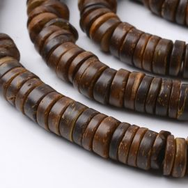 Natural coconut beads 12x2-5 mm 1 thread