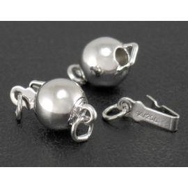 Brass clasp - box for necklace bracelets jewelry Gray size 13x8 mm round shape