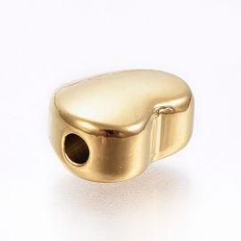 """Nerūdijančio plieno 304 intarpas """"Širdelė"""" vėriniamsapyrankėmspapuošalams Aukso spalvos dydis 10x12x6 mmširdelės"""