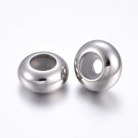 Stainless steel 304 stoppers for necklace bracelets jewelry rubber inside. Gray size 8x4 mm