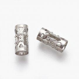 Вставка из нержавеющей стали 304 для ожерелья, браслета, украшения Серый размер 8х4 мм в форме трубки