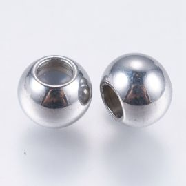 Stainless steel 304 stoppers for necklace bracelets jewelry rubber inside. Gray size 8x6 mm