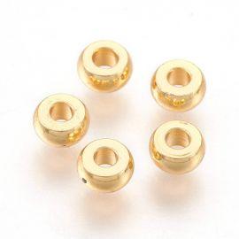 Нержавеющая сталь 304 вставка для ожерелья браслет бижутерия Золото размер 4х2 мм круглая форма