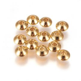 Nerūdijančio plieno 304 intarpas vėriniamsapyrankėmspapuošalams Aukso spalvos dydis 55x3 mmrondelės formos