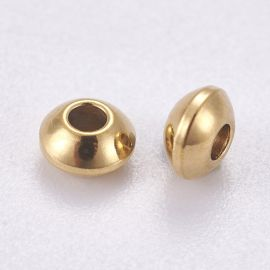 Stainless steel 304 insert for necklace bracelet jewelry Gold size 4x2 mm round shape