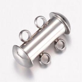 Нержавеющая сталь 304 2-рядная застежка для колье для украшений Серый размер 15х10х6 5 мм