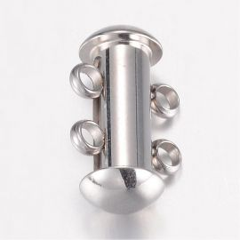 Stainless steel 304 2 rows clasp 15x10x6.5 mm 1 pc