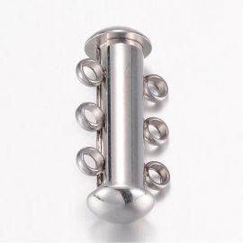 Нержавеющая сталь 304 3-рядная застежка для колье для украшений Серый размер 20х10х6 5 мм