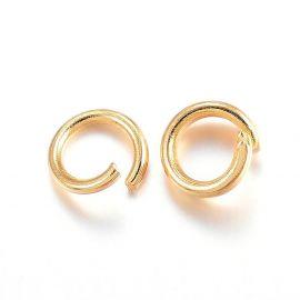 Нержавеющая сталь 304 одинарные кольца для ожерелий бижутерия Цвет золота размер 4x0 6 мм
