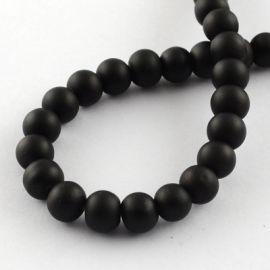 Glass beads for necklaces for jewelry Black size 8 mm round shape