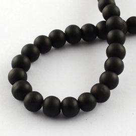 Стеклянный жемчуг для колье для украшений Черный размер 8 мм круглая форма