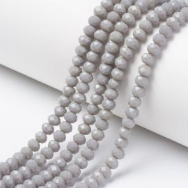 Glass beads for necklaces for jewelry Gray size 8x6 mm round shape