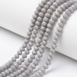 Стеклянные бусины на колье для украшений Серые размер 8х6 мм круглой формы