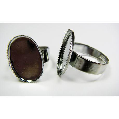 Žiedo pagrindas kabošonui 18x13 mm, sidabro spalvos, reguliuojamas dydis