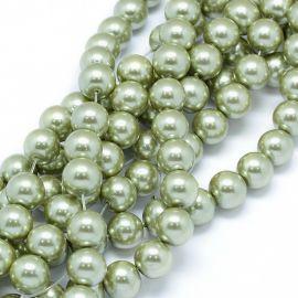 Стеклянный жемчуг для колье для украшений Светло-зеленый размер 10 мм круглая форма