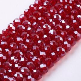Glass beads for necklaces for jewelry Dark red size 10x7 mm round shape