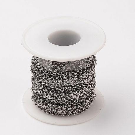Nerūdijančio plieno 304 grandinėlė vėriniamsapyrankėmspapuošalams Pilkos spalvos dydis 3 mm