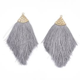 Polyester tassel for necklaces for jewelry Gray size 100x50x7 mm