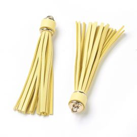 Suede tassels for necklace bracelets for jewelry Yellow size 110-115x15 mm