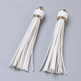 Suede tassels for necklaces for jewelry White size 110-115x15 mm