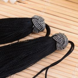 Nylon tassels for necklaces for jewelry Black size 60-65x10 mm