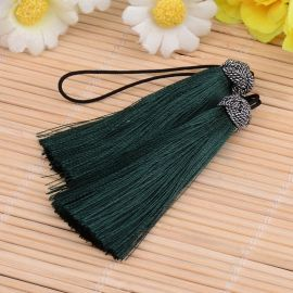 Nylon tassels for necklaces for jewelry Dark green size 60-65x10 mm