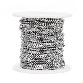Nerūdijančio plieno 304 grandinėlė vėriniamsapyrankėmspapuošalams Pilkos spalvos dydis 2 mm