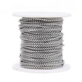 Stainless steel 304 chain for necklace bracelets jewelry Gray size 2 mm