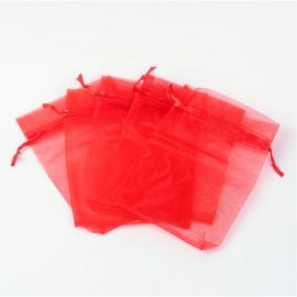 Organzos maišelis . Raudonos spalvos dydis 15x10 cm rankdarbiams