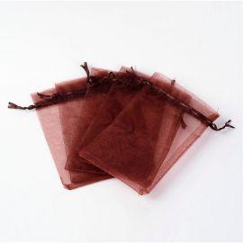 Organza kott. Helepruun suurus 15x10 cm näputööks