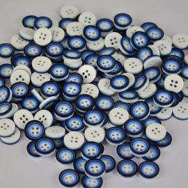 Buttons - Plastic saga. Black-blue-blue Coin 4 holes