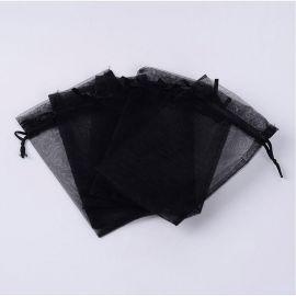Dekoracijos - Organzos maišelis. Juodos spalvos