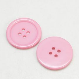 Buttons - Plastic saga. Pink Coins 4 holes