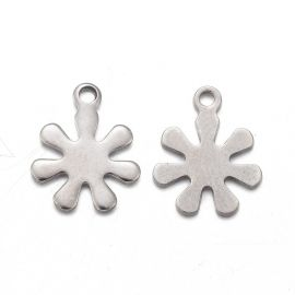 """Jewelry accessories - Stainless steel 304 pendant """"Snowflake"""". Gray"""