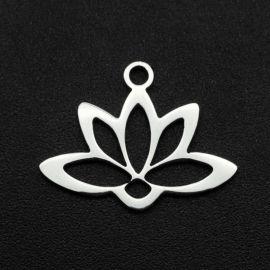 "Stainless steel 304 pendant ""Lotus ring"" 14x18x1 mm 1 pc."