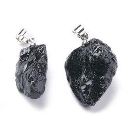 Akmeniniai pakabukai - Natūralaus Juodojo Turmalino pakabukas. Juodos spalvos Netaisyklingos Stačiakampio laikiklis pilkos spalv