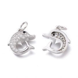 "Jewelry accessories - Brass pendant with Zircon ""Dolphin"". Gray"