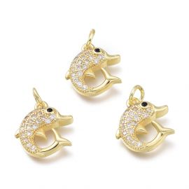 """Jewelry accessories - Brass pendant with Zircon """"Dolphin"""". Gold colors"""