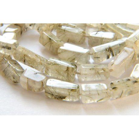 Natūralaus Rutilo kvarco akmens karoliukai, baltos skaidrios spalvos stačiakampio formos 4x8mm