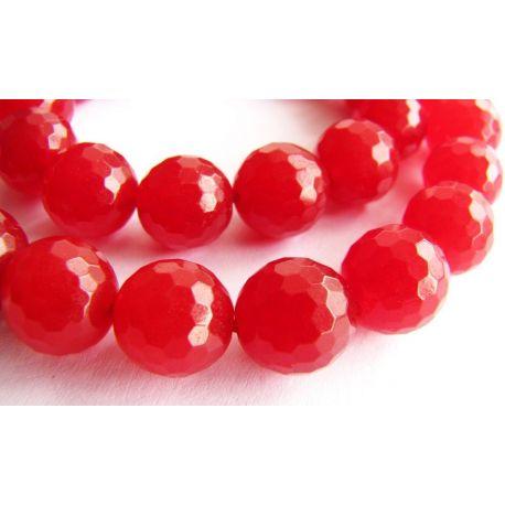 Rubino karoliukai raudonos spalvos briaunuoti apvalios formos 8mm
