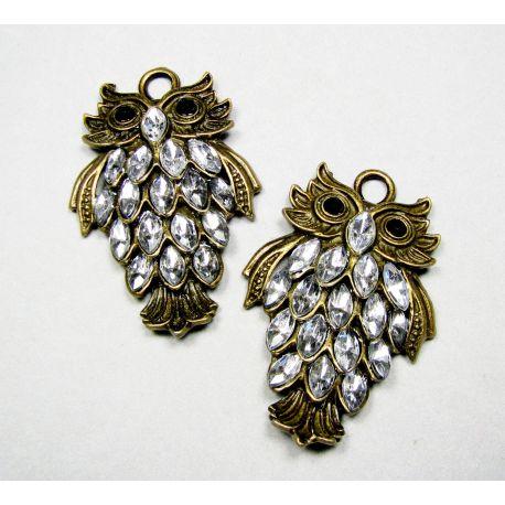 Owl pendant, aged bronze, 48x32 mm