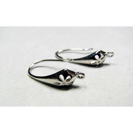 Kabliukai skirti auskarų gamybai, variniai sidabro spalvos 20x10 mm