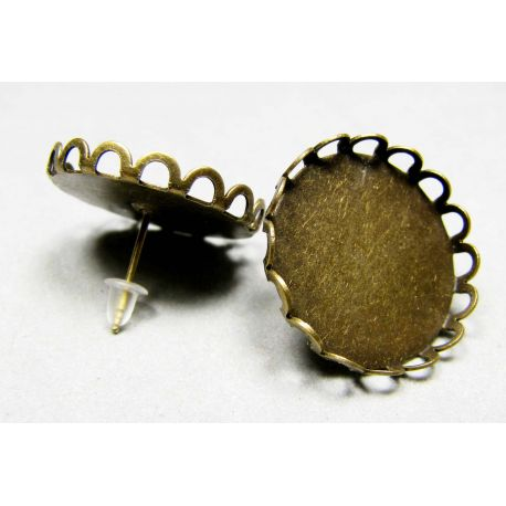 Kabliukai skirti auskarų gamybai, sendintos bronzinės spalvos 21 mm