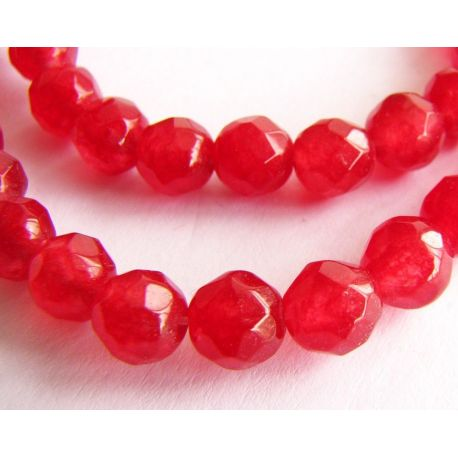 Ruby bead thread red ribbed round shape 6mm thread 63pcs