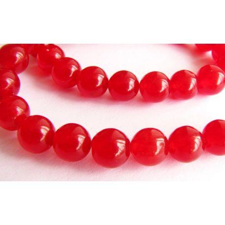 Rubino karoliukai raudonos spalvos apvalios formos 8mn