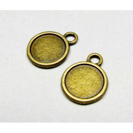 Pendant for cabochon/camaradiation, aged bronze 14 mm